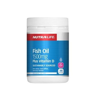 Nutra Life 鱼油1500毫克加维生素D 180粒